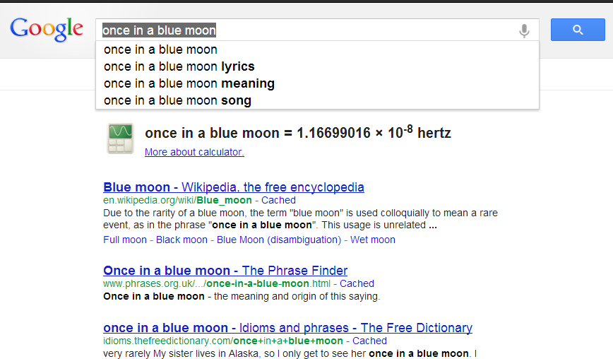 once in a blue moon - Google Search