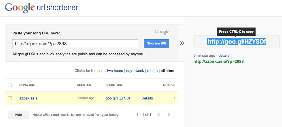 2.Google Url shortener goo.gl