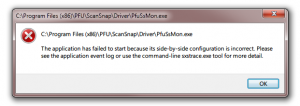 installing fail of scansnap manager software