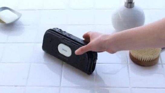 useful wireless bluetooth loudspeakers in our boring bathroom