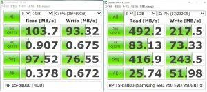 HDDとSSDのCrystal Disk Markでのベンチ比較
